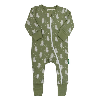 Parade Baby 2-Way Zipper Romper with green and white Tree pattern