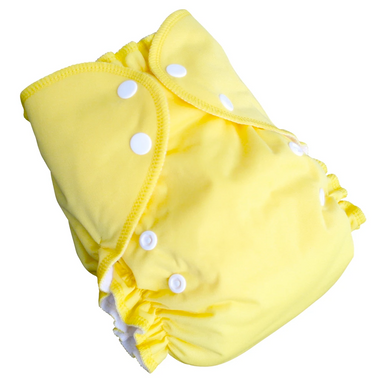 Cloth Diaper Set | Lemon | One Size 6-40lbs Cover + 2 Inserts