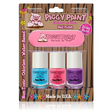Piggy Paint Non-Toxic Nail Polish 3 Colours Cotton Candy in packaging