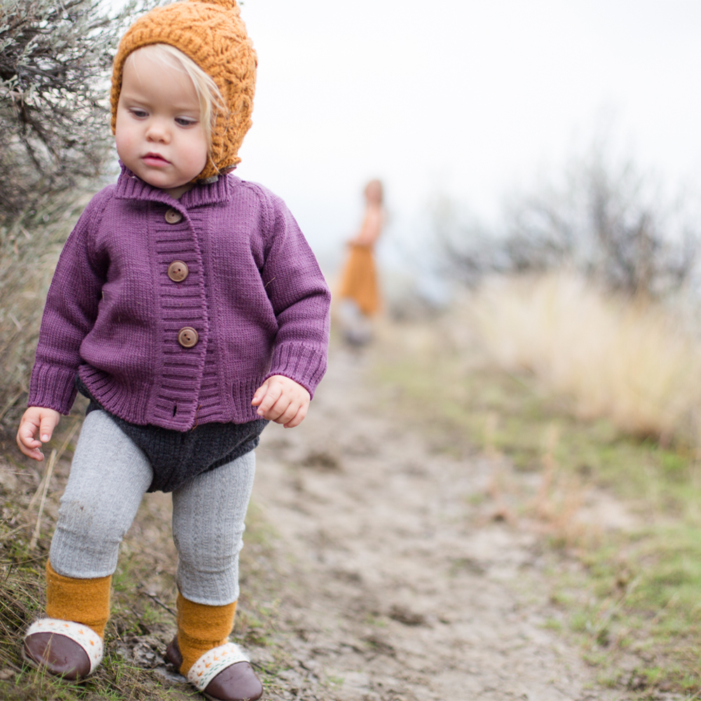 Nooks Design | Child Cardigan | 100% Merino Wool | Plum
