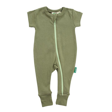 2-Way Zipper Romper | Short Sleeve | Olive | Various Sizes