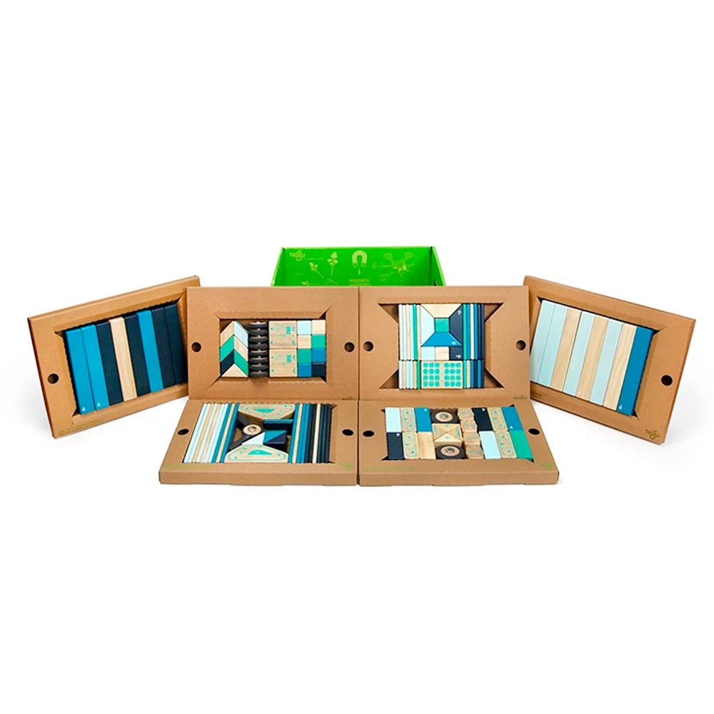 Tegu Toys 130 piece magnetic block classroom set in Blues