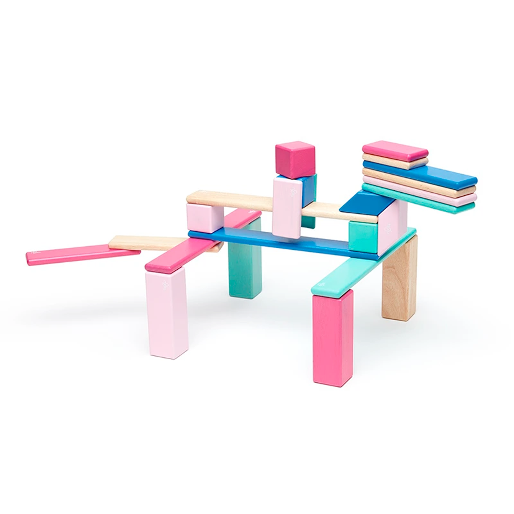 Tegu Toys 24 piece magnetic block set in Blossom set up to look like a person riding a four-legged creature
