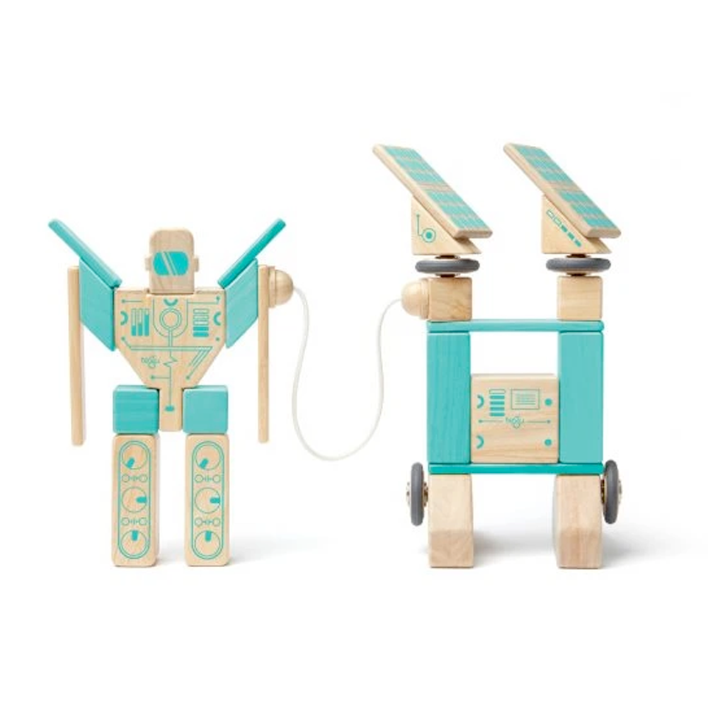 Tegu Toys Magnetron magnetic block set built like a robot and a power station