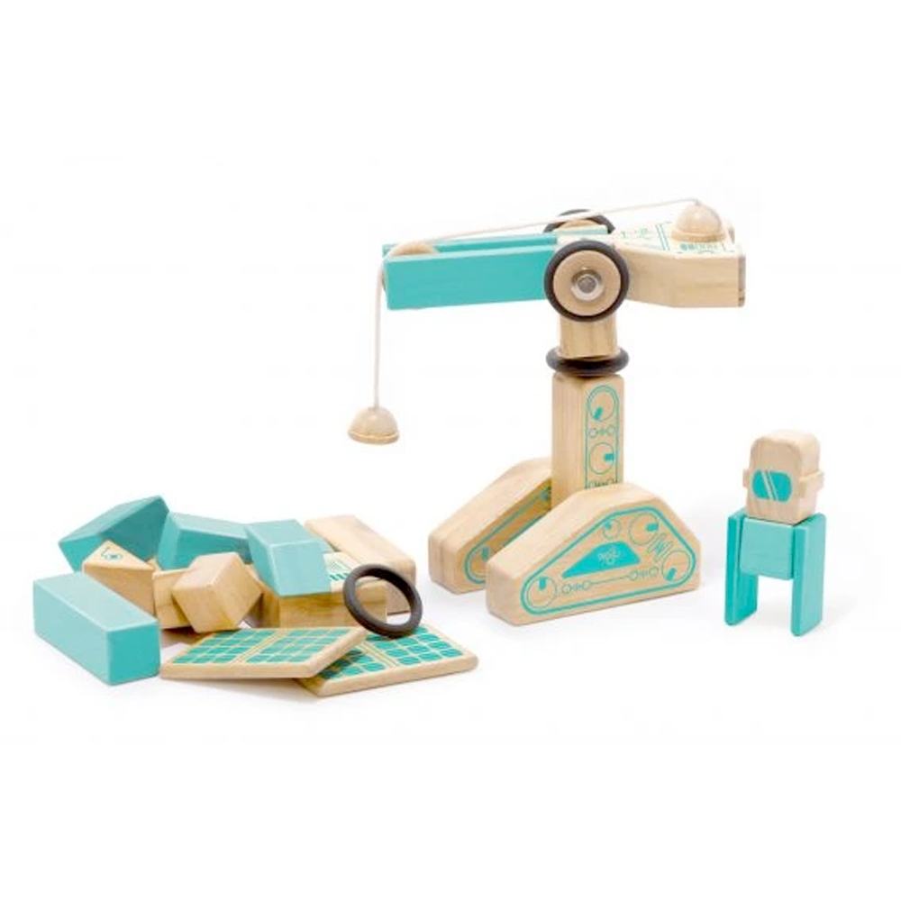 Tegu Toys Magnetron magnetic block set built like a crane and a small man
