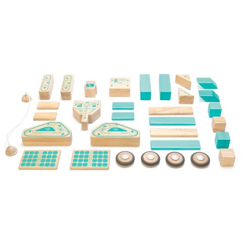 Tegu Toys Magnetron magnetic block set laid out to show all the parts