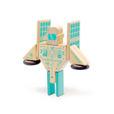 Tegu Toys Magnetron magnetic block set built like a robot with solar panel fins