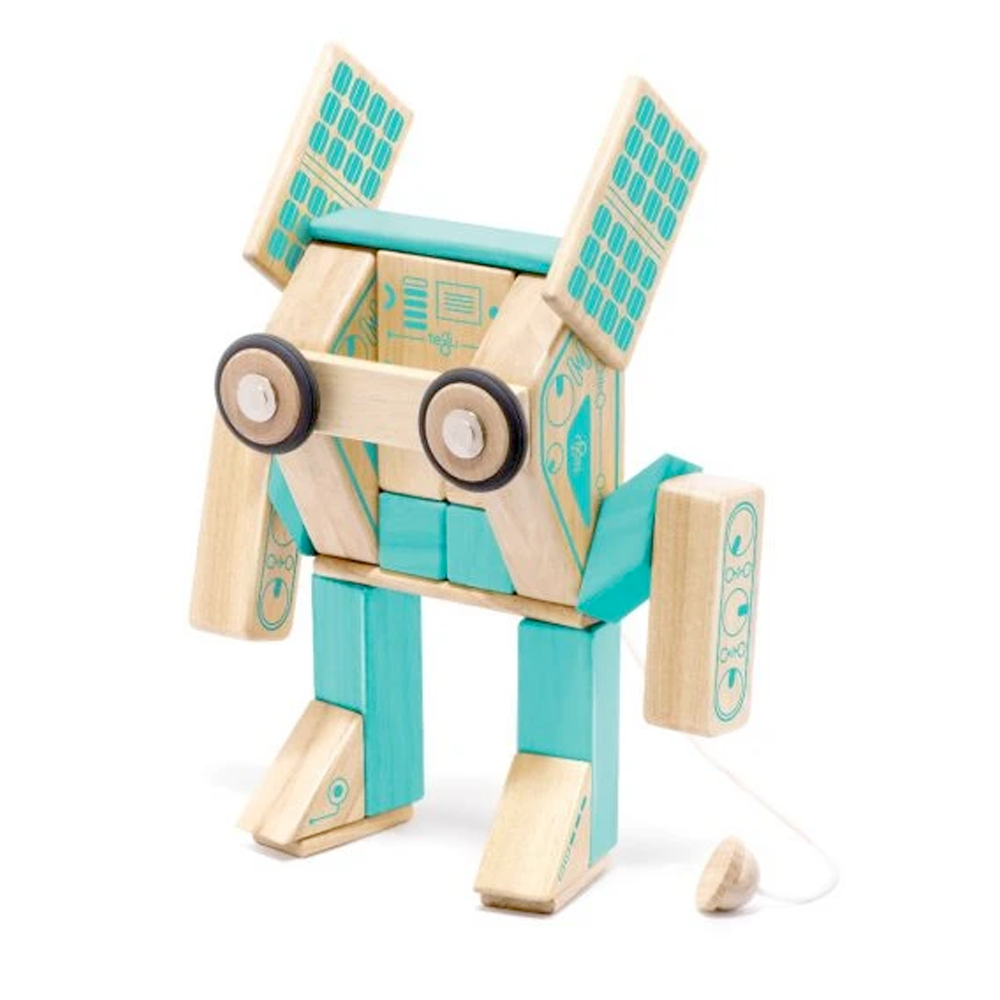 Tegu Toys Magnetron magnetic block set built like a robot with big eyes