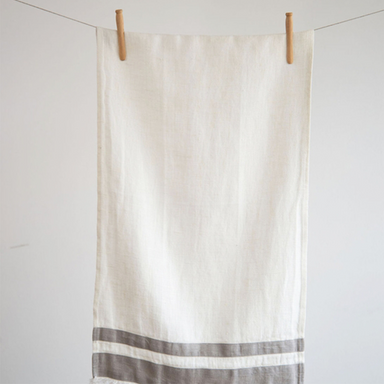 Lipari Tea Towel | White & Grey Stripes