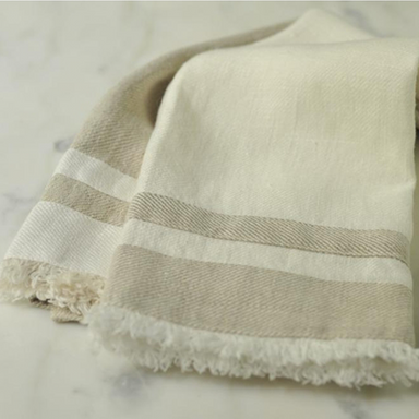 Lipari Hand Towel | White With Beige Stripe