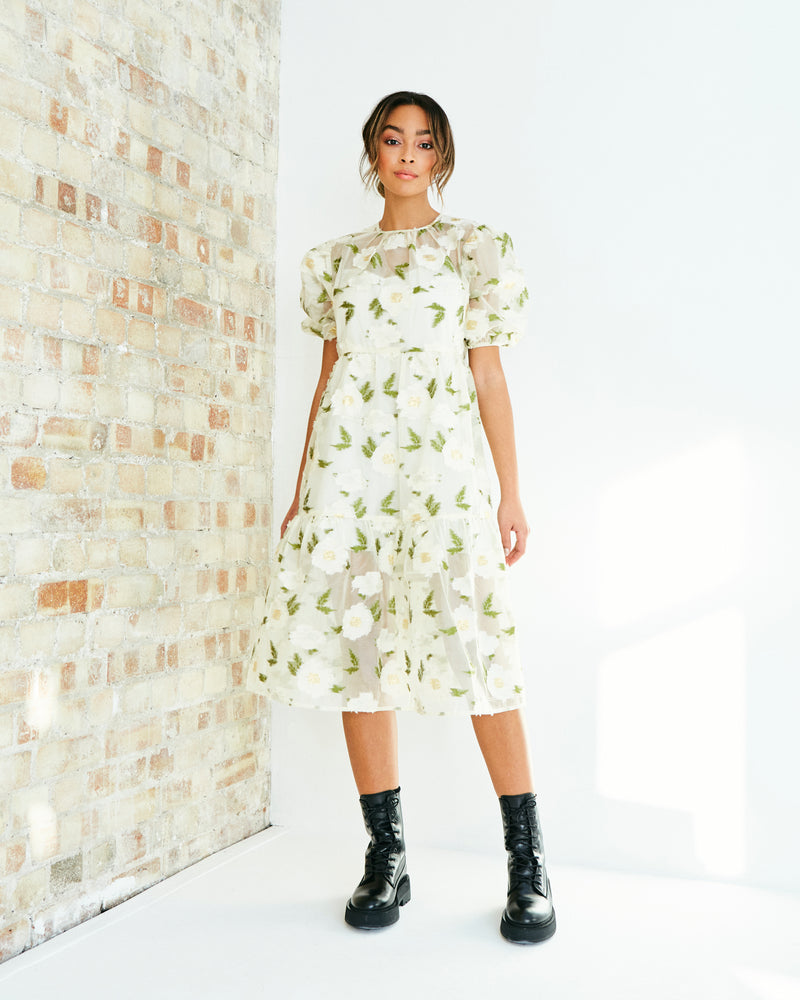 MAISIE ORGANZA FLORAL TIERED MIDI DRESS