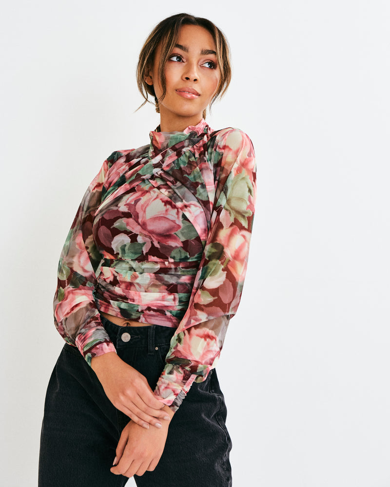 AVA FLORAL PRINTED MESH JERSEY HIGH NECK TOP