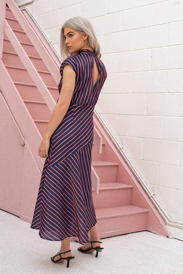 Petite High Neck Stripe Midaxi Dress