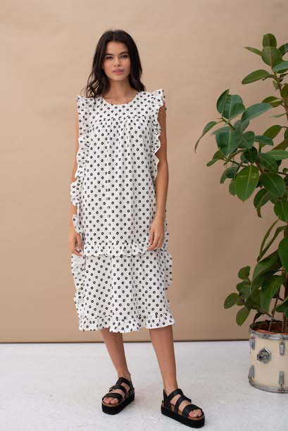 Frill Printed Smock Dress