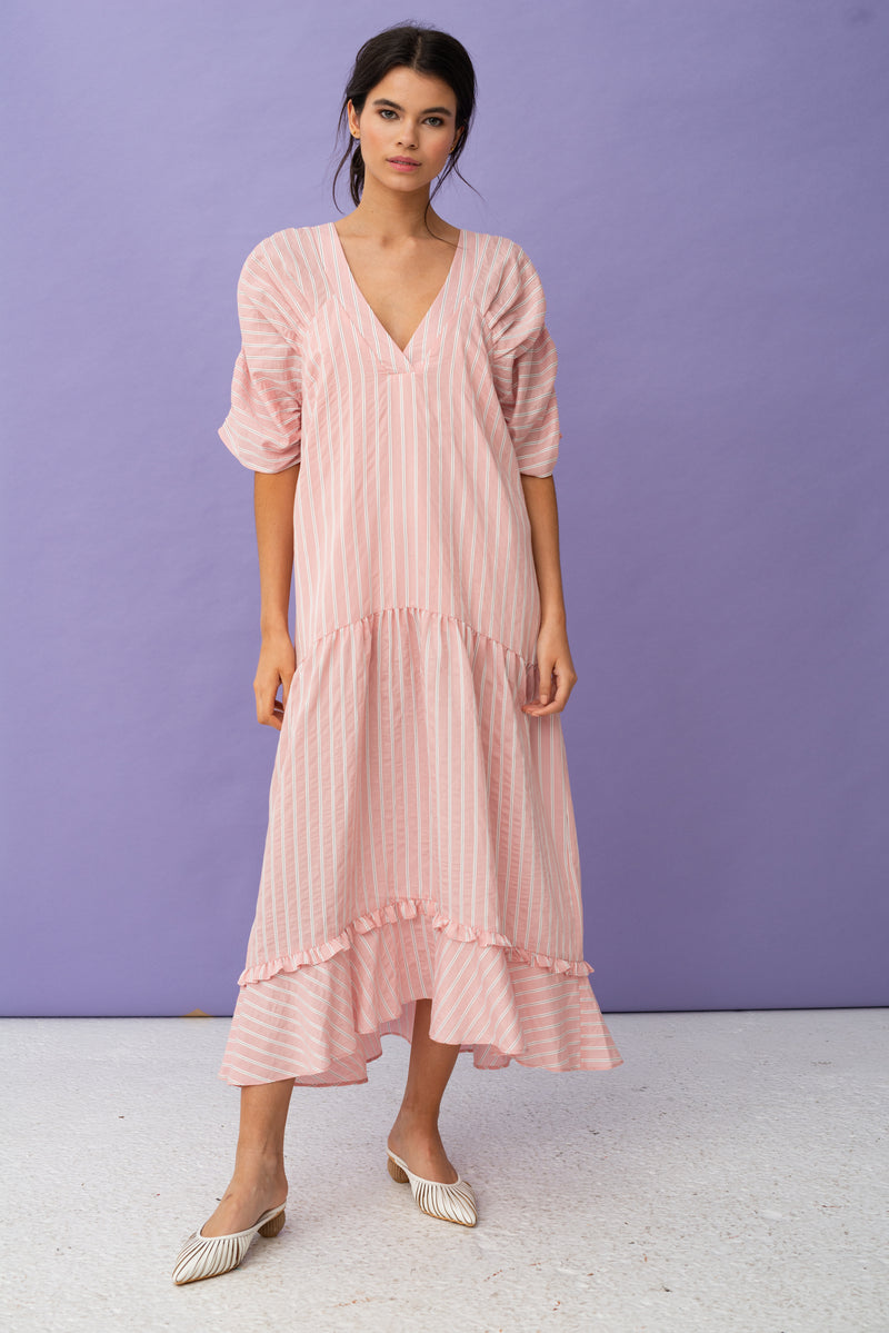 V Neck Stripe Smock Maxi Dress