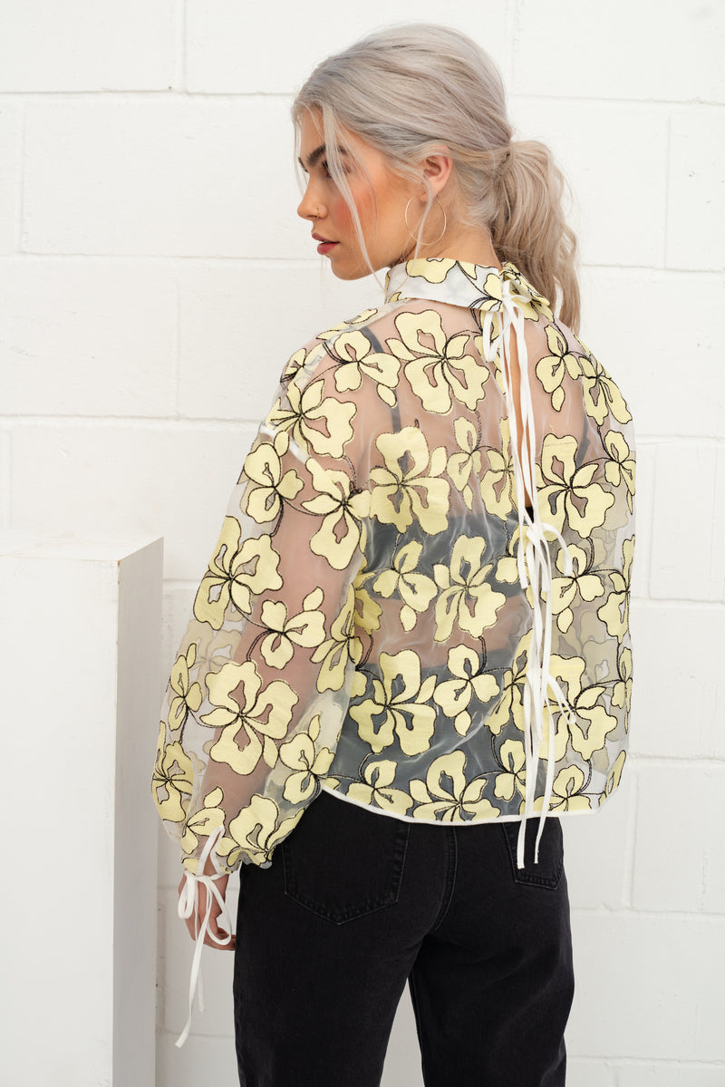 Organza Printed Tie Back Top