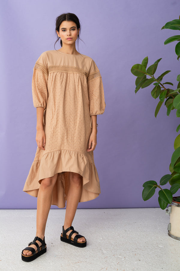 Trim Insert Broderie Midi Dress