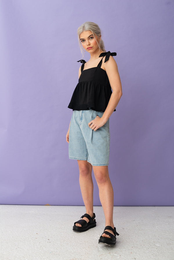 Pleated Hem Bow Strap Top