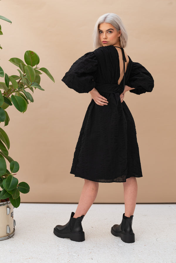 Petite Volume Sleeve Full Skirted Dress