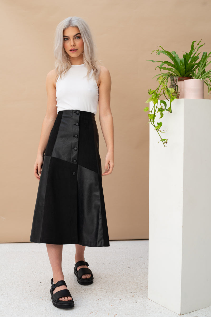 Fabric Mix PU Midi Skirt