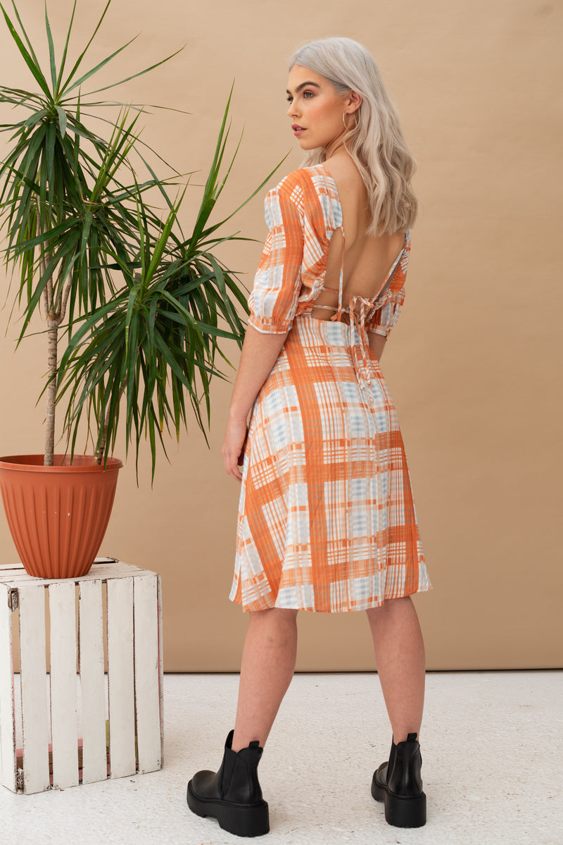 Tie Back Check Midi Dress