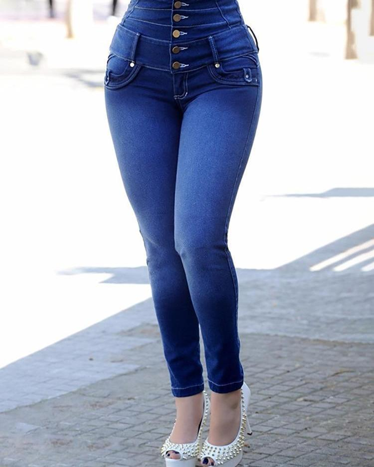 High Waist Button Design Jeans