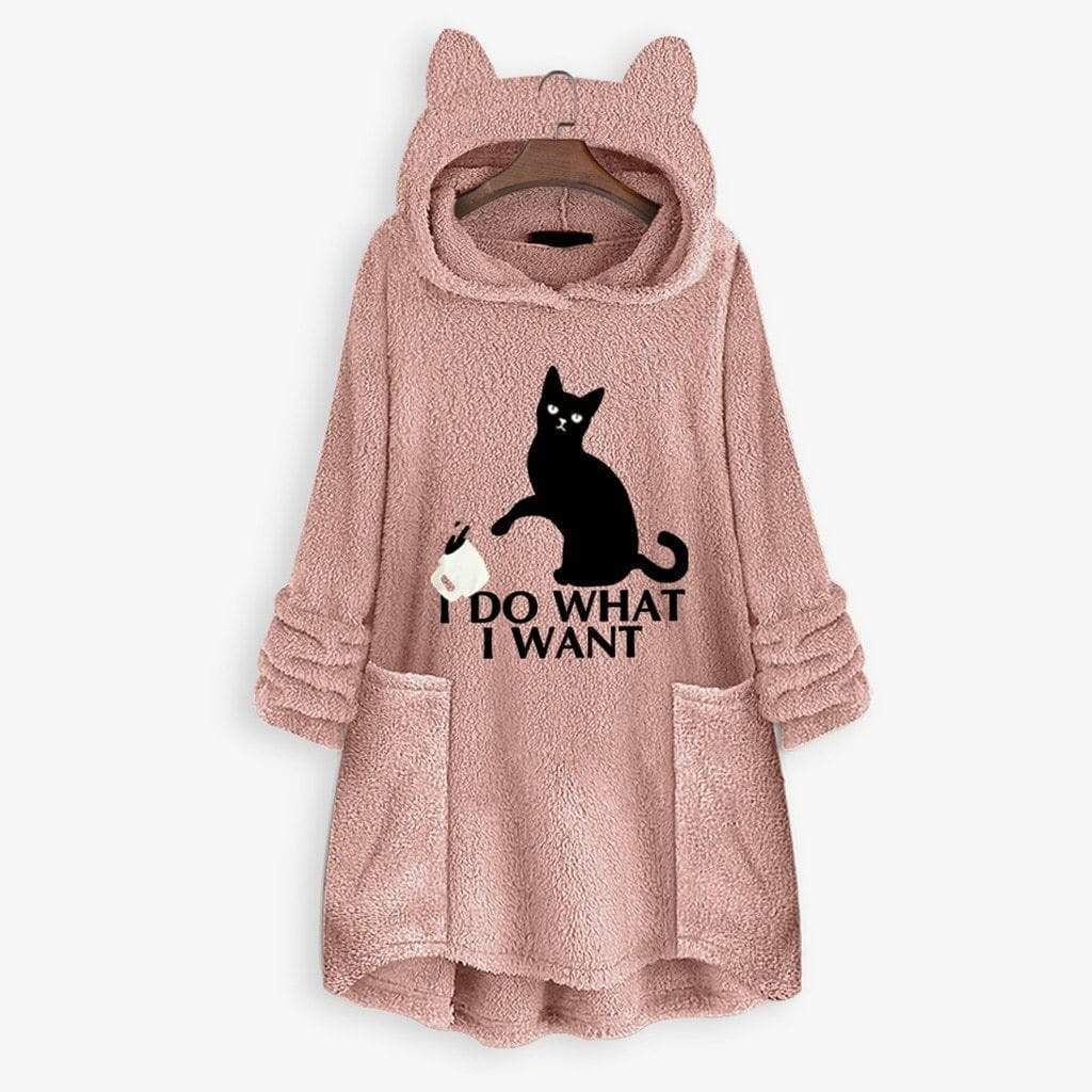 I D0 Wh4t I W4nt Fluffy Fleece Oversize Hoodie With Cat Ears