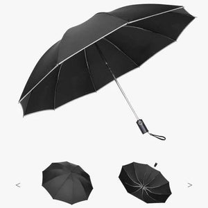 Auto Open Close Folding UV Rain Umbrella Black