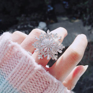 Snowflake Silver Open Ring