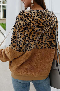 (50% OFF - Today Only) Chic Leopard Zip-Up Patchwork Hooded Coat(5 Colors)