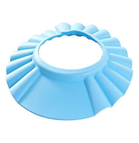 Adjustable Baby Shower Cap - Keeps Soap Out of Baby's Eyes Blue