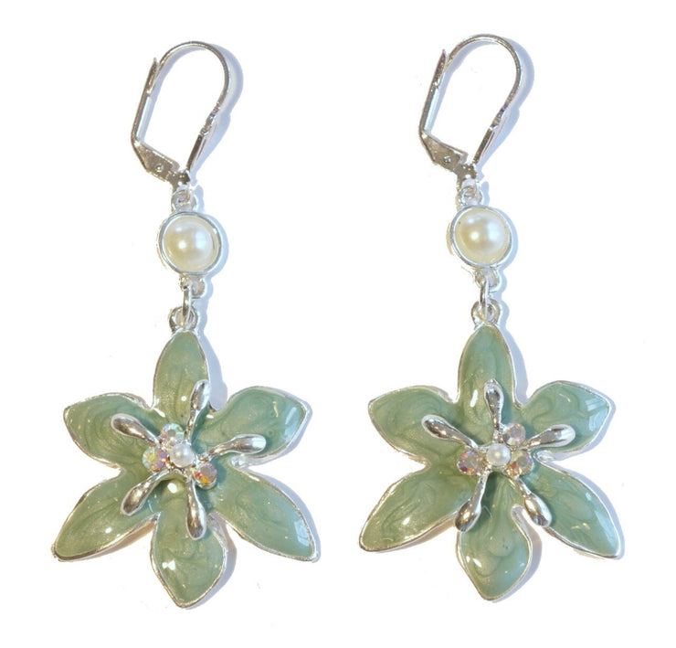 Lily Drop Earring Silver Turquoise