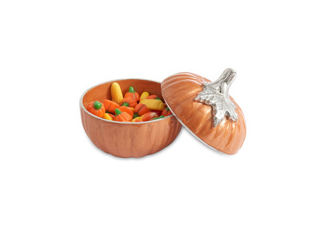 "Pumpkin 5"" Covered Bowl Spice"