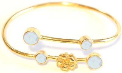 Flower Charm Bangle Turquoise Aqua Chalcedony