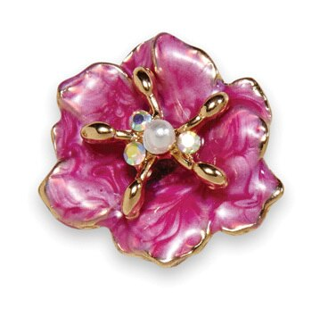 Dogwood Blossom Earring Gold Raspberry