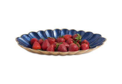 "Peony 16"" Oval Bowl Gold Sapphire"