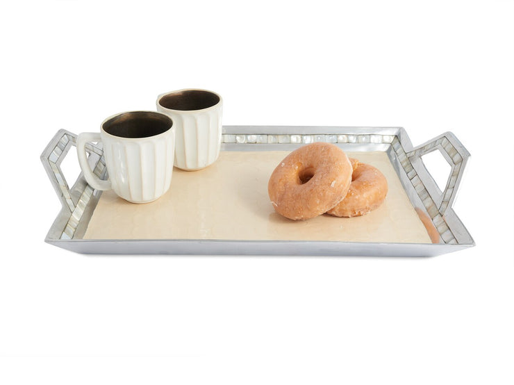 "Classic 21"" Beveled Tray w/Handles Snow"