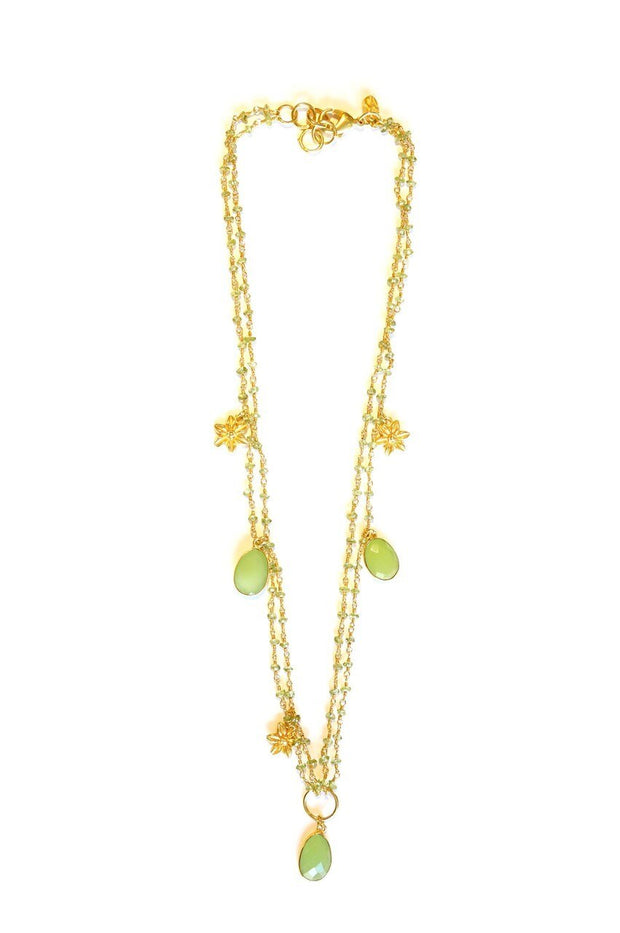Double Strand Solitaire Flower Charm Necklace Kiwi Prehnite Chalcedony