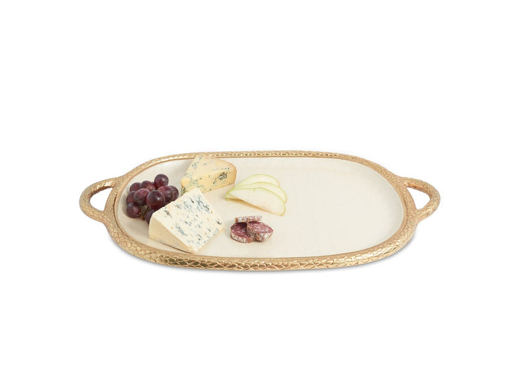 "Florentine 22.5"" Handled Tray Gold Snow"