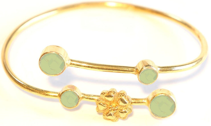 Flower Charm Bangle Kiwi Prehnite Chalcedony