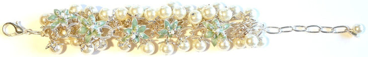 Lily Blossom Pearl Cluster Bracelet Silver Turquoise
