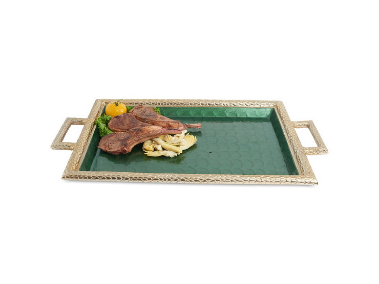 "Florentine 23"" Beveled Tray with Handles Gold Emerald"