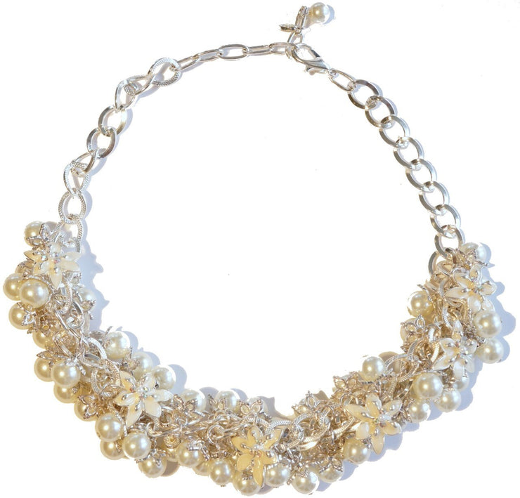 Lily Blossom Pearl Cluster Necklace Silver Snow