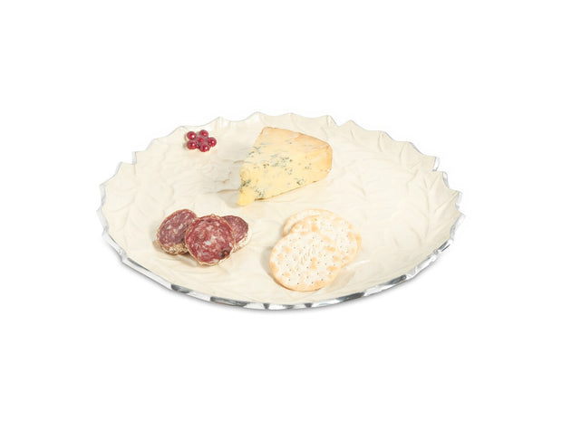 "Holly Sprig 13"" Round Platter Snow"