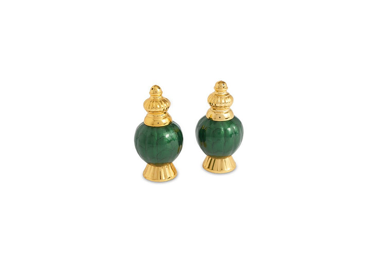 "Peony 4"" Salt & Pepper Set Gold Emerald"