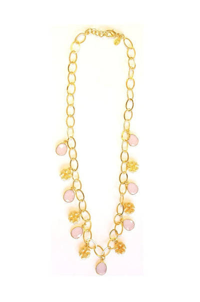 Fringe Flower Charm Link Necklace Raspberry Rose Chalcedony