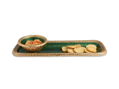 "Florentine 16"" Rectangular Tray Gold Emerald"