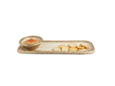 "Florentine 16"" Rectangular Tray Gold Snow"