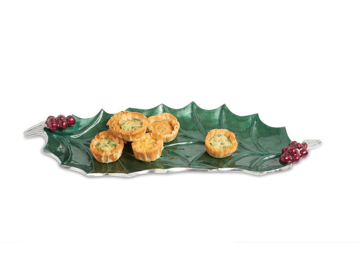 "Holly Sprig 16"" Tray Emerald"