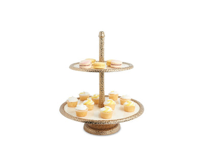 "Florentine 13.5"" Two-Tiered Server Gold Snow"